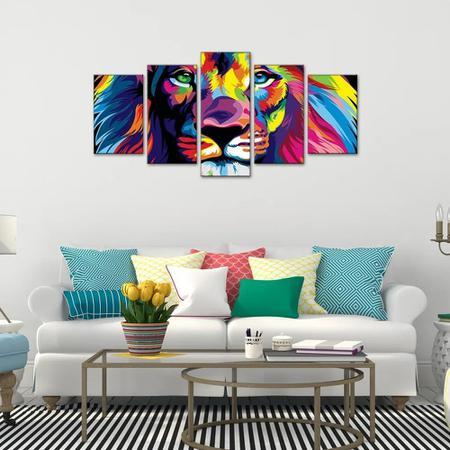 Imagem de Quadro Decorativo Sala Quarto Escritório Leão Colorido