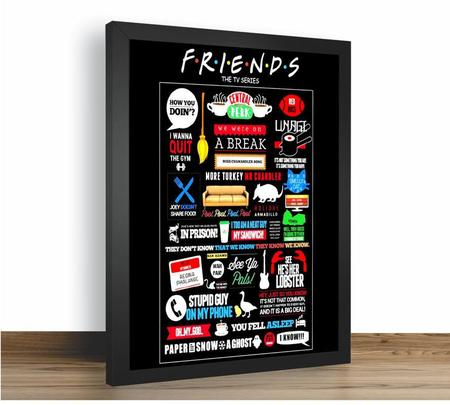 Imagem de Quadro Emoldurado Poste  Friends Serie Comedia Classico
