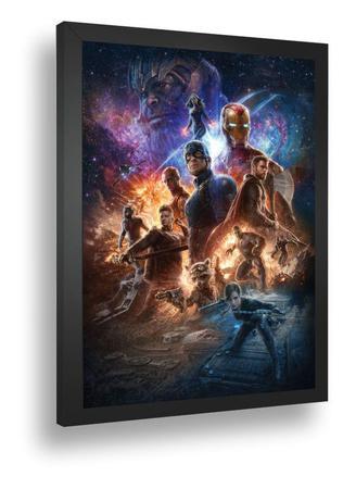 Imagem de Quadro Emoldurado Poste Marvel Vingadores Thanos Com Vidro