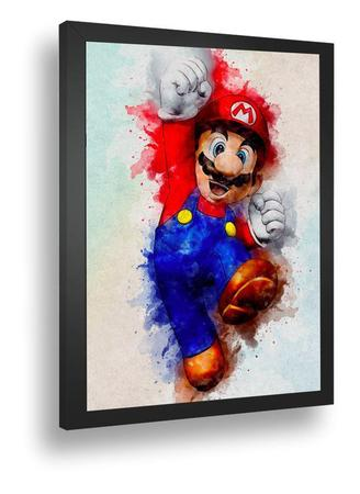 Imagem de Quadro Emoldurado Retro Poster Games Classico Mario