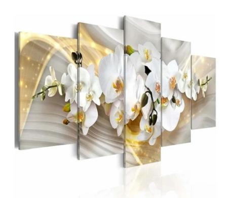 Imagem de Quadro mosaico 5 peças orquidea dourada abstrato moderno painel para decoração de ambientes