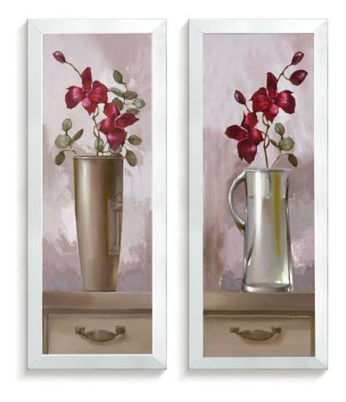 Imagem de Quadros Decorativo Kit Cozinha Kit Quarto Jarros Flores Rosa