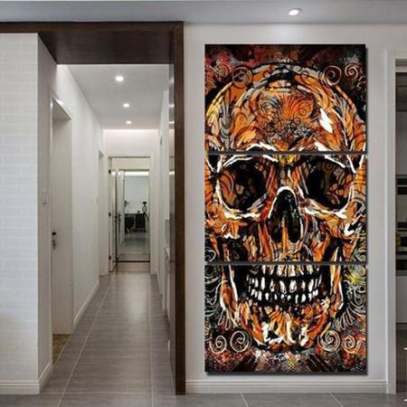 Imagem de Quadros decorativos 3 peças studio de tatuagem caveira