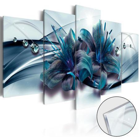 Imagem de Quadros decorativos 5 peças lirios azul turquesa gotas