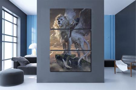 Imagem de Quadros Decorativos Leão Alado para Sala 3 peças