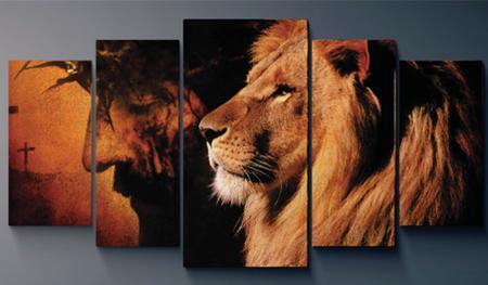 Imagem de Quadros decorativos mosaico 5 peças Leão Jesus - Judá