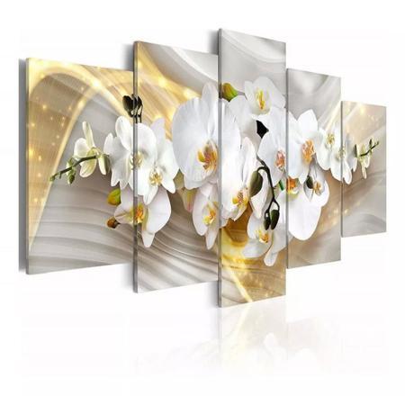 Imagem de quadros decorativos para sala orquideas brancas com efeito dourados brilhantes