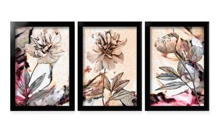 Imagem de Quadros Decorativos Parede Moldura Flores Floral Sala Quarto