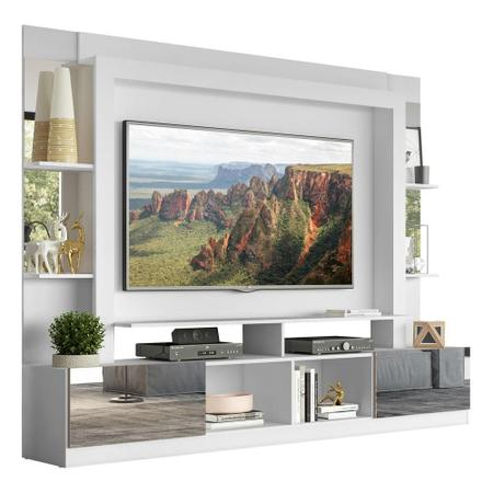 """Imagem de Rack Estante c/ Painel TV 65"""" e Espelho Oslo Multimóveis Branco/Lacca Fumê"""