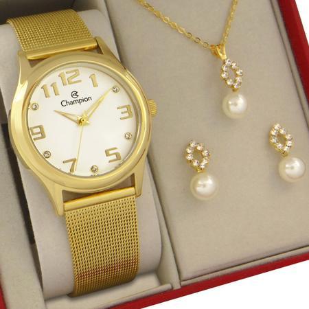 Imagem de Relógio Champion Feminino Dourado Prova d'água com colar e brincos