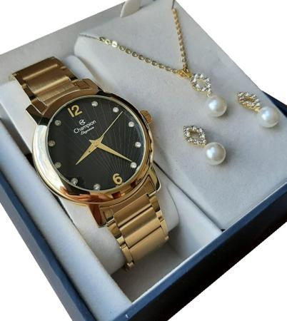 Imagem de Relógio Feminino Champion  Dourado + Brinco + Colar - REF. CN25869K FUNDO PRETO