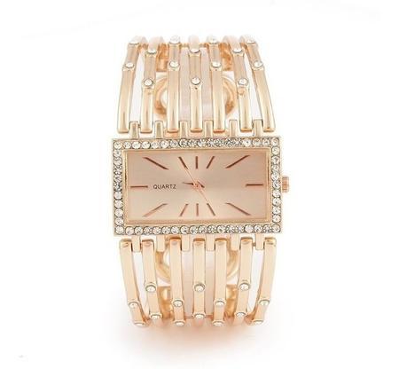 Imagem de Relógio Feminino Dourado kit Romanza c/ Pulseira Berloques estilo Pandora