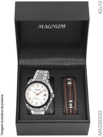Imagem de Relógio magnum masculino kit com pulseira ma33620d