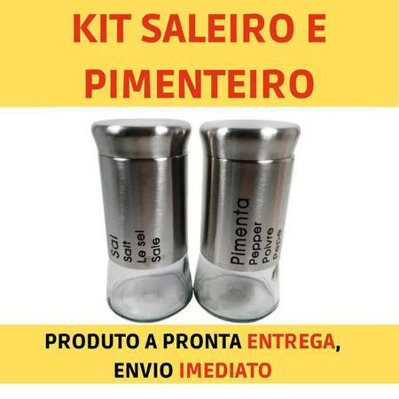 Imagem de Saleiro e Pimenteiro Em Aço Inox E Vidro 2 Peças UnyHome