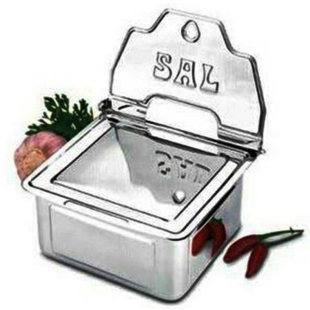 Imagem de Saleiro Em Aço Inox Mak Inox Com Caixa Protetora - 700 Gr - Mak-Inox