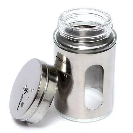 Imagem de Saleiro Pimenteiro Porta Condimentos  Vidro e Inox com visor