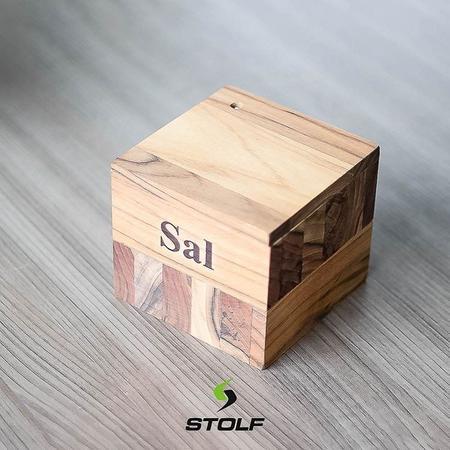 Imagem de Saleiro Teca de Madeira 12x10,5cm Stolf