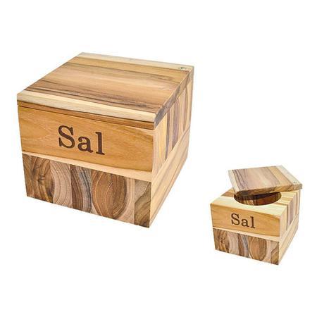 Imagem de Saleiro Teca Madeira Stolf Premium 10,8x12x12cm 200g de sal