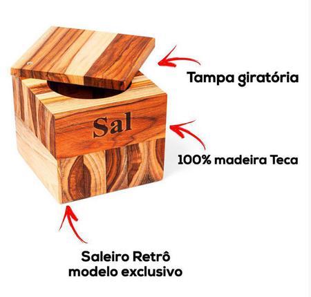 Imagem de Saleiro Teca Premium STOLF 12 X 12 X 10 Cm
