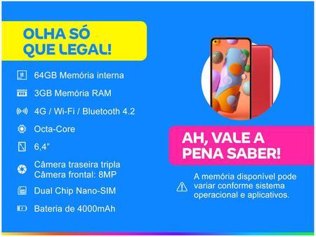 Imagem de Smartphone Samsung Galaxy A11 64GB Vermelho 4G