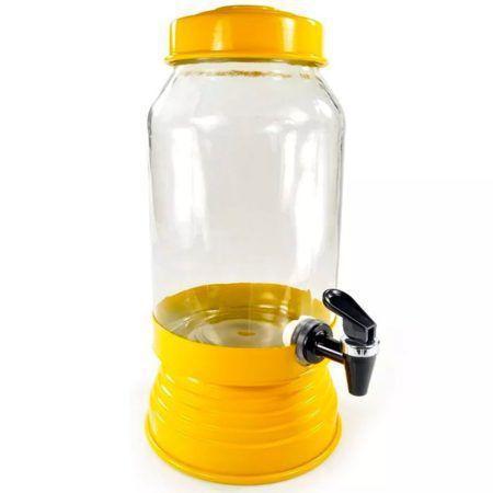 Imagem de Suqueira de Vidro Com Base em Alumínio 3250 Ml - Amarela