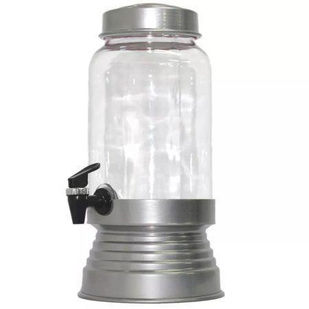 Imagem de Suqueira de Vidro Com Base em Alumínio 3250 Ml - Prata