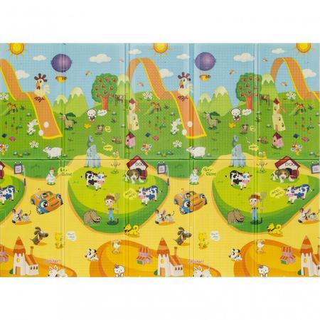 Imagem de Tapete Infantil Recreio Parquinho Frente e Verso 150cmx200cm Jolitex Azul