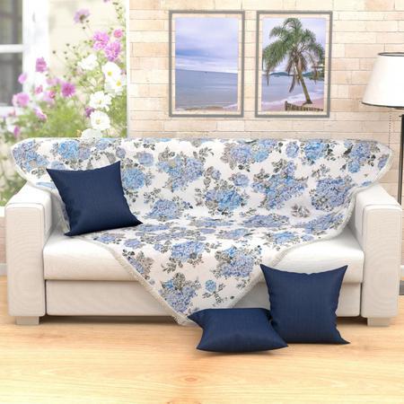 Imagem de Xale Decorativo Azul para Sofá 2,30m x 1,50m Jacquard