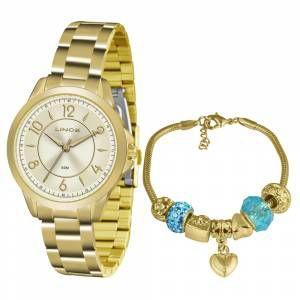 41521a73175 Relógio Lince Feminino Analógico Dourado LRG4504LC2KX - Relógio ...