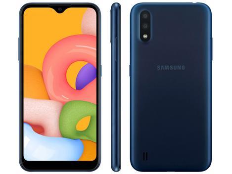 "Smartphone Samsung Galaxy A01 32GB Azul Octa-Core - 2GB RAM Tela 5,7"" Câm. Dupla + Câm. Selfie 5MP - Samsung Galaxy"