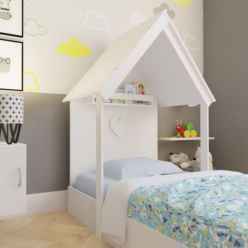 Cama Infantil 1 Prateleira Casinha Helena Bramov Móveis Branco