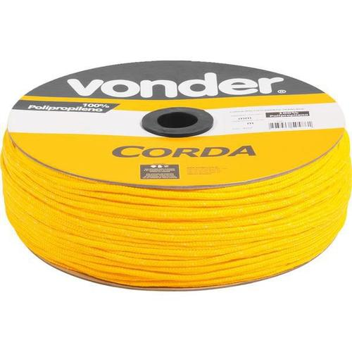 Corda multifilamentada trançada 4mmx360m 2,9kg amarela polipropileno c
