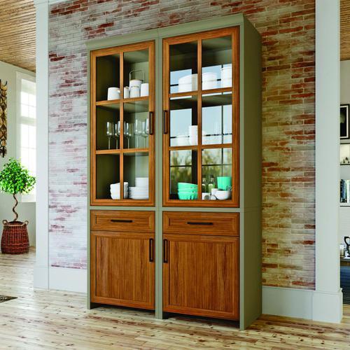 Cristaleira 4 Portas 2 Gavetas Espresso Móveis Fendi/Freijó