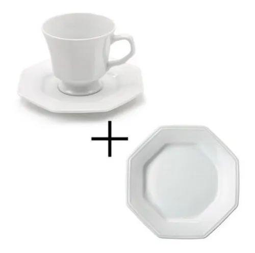 Jogo 18 Peças - Xicaras de Chá + Pratos Sobremesa - 6 Xicaras + 6 Pire