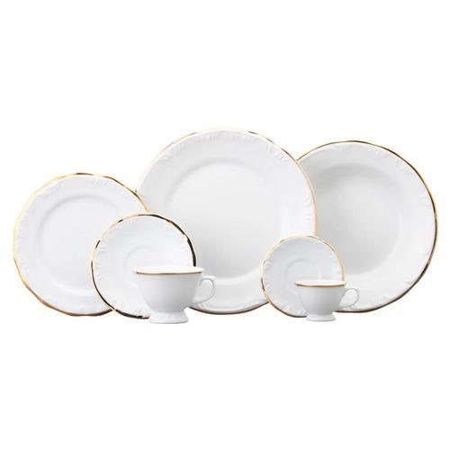 Jogo 30 Peças - Pratos e Xícaras Pomerode Filete Ouro - Porcelana Schm