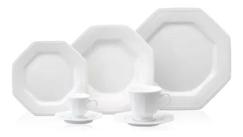 Jogo 42 Peças - Pratos, Xícaras de Chá e Café Prisma - Porcelana Schmi