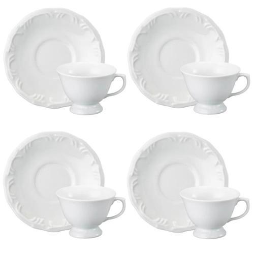Jogo 8 Peças - 4 Xícaras de Chá + 4 Pires Pomerode - Porcelana Schmidt