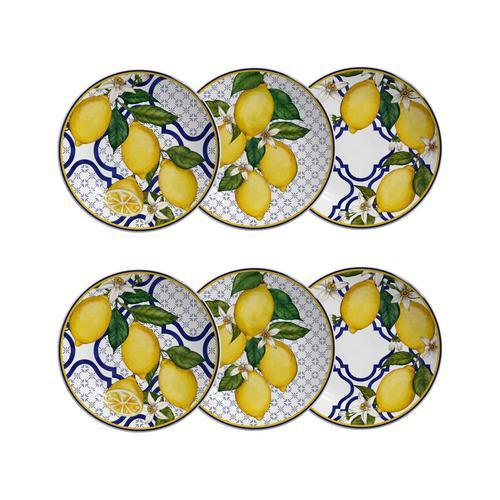 Jogo De Pratos de Sobremesa Scalla Sicília - Limões Sicilianos (6 Peça