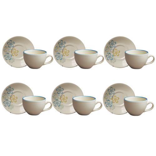 Jogo de Xícaras de Chá com Pires Burbujas 12 Peças - Class Home