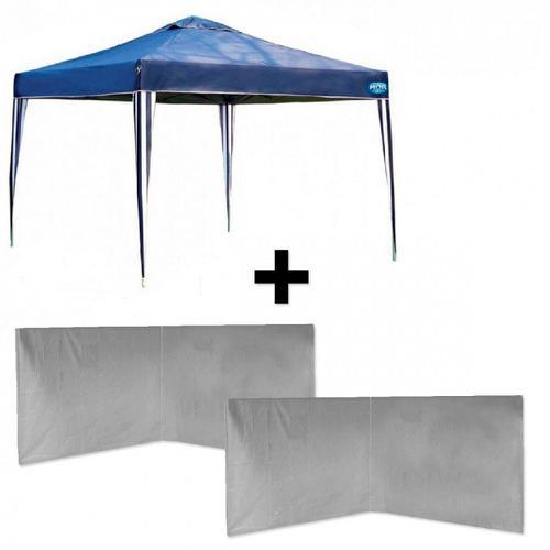 Kit Tenda Dobravel Azul 3x3 M Base e Topo + 4 Paredes Brancas Sem Jane