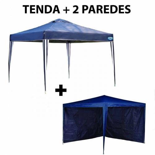 Kit Tenda Gazebo 3x3 M + 2 Paredes Sem Janela Azul  Mor