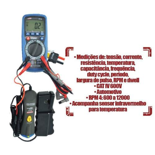 Multímetro Automotivo, Temperatura, Resistência Capacimetro Com Certif