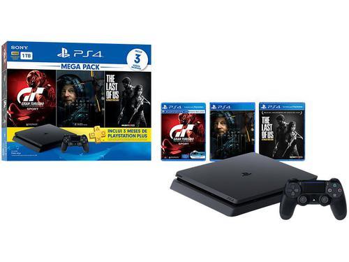 Playstation 4 1TB 1 Controle Sony com 3 Jogos Plus 3 Meses