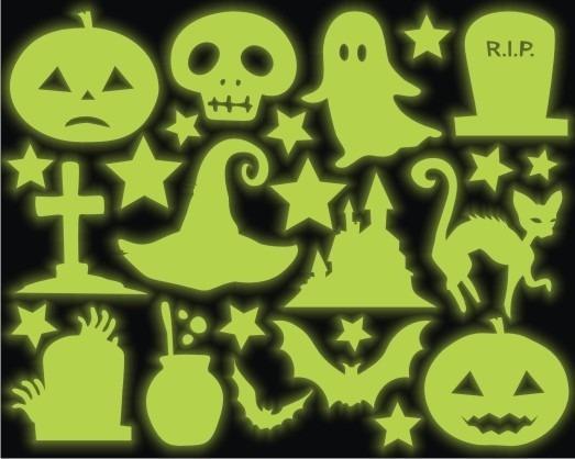 Adesivo Brilha No Escuro Neon Halloween Dia Das Bruxas Micro