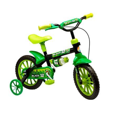 Bicicleta Nathor Lion Aro 12 Rígida 1 Marcha - Preto/verde