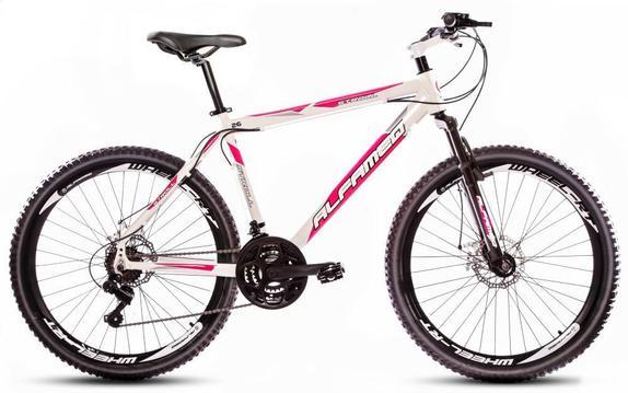 Bicicleta Alfameq Stroll Disc T17 Aro 26 Susp. Dianteira 24 Marchas - Branco/rosa