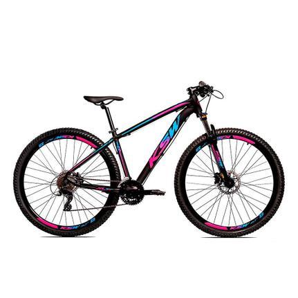 Bicicleta Ksw Xlt Disc H T19 Aro 29 Susp. Dianteira 27 Marchas - Azul/preto/rosa
