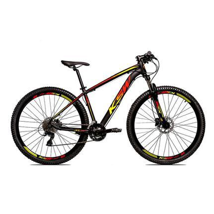 Bicicleta Ksw Xlt Disc H T21 Aro 29 Susp. Dianteira 27 Marchas - Amarelo/vermelho