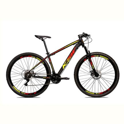 Bicicleta Ksw Ltx Disc M T17 Aro 29 Susp. Dianteira 24 Marchas - Amarelo/vermelho