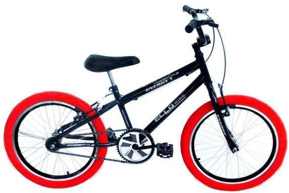 Bicicleta Ello Bike Cross Freestyle Aro 20 Rígida 1 Marcha - Preto/vermelho